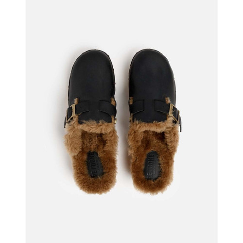 70S CLOG SHEARLING - BLACK LEATHER