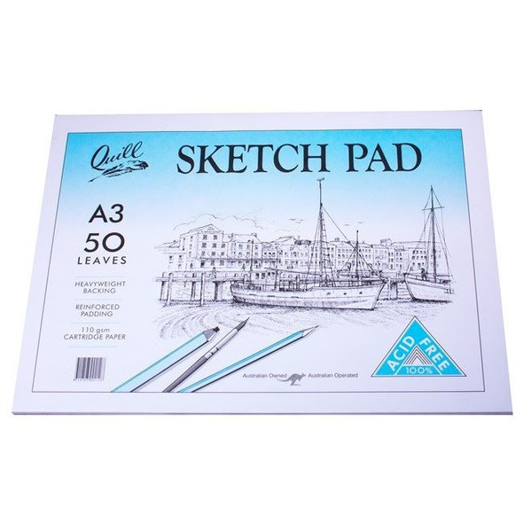 Quill Sketch Pad 110GSM A3 100 Pages - White