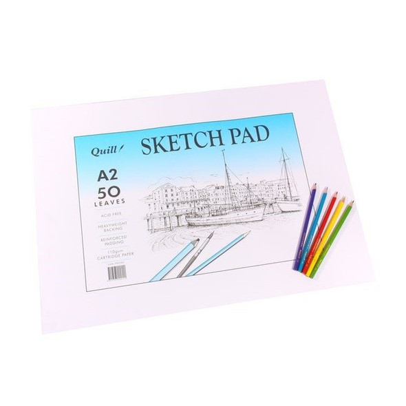 Quill Sketch Pad 110GSM A2 100 Pages - White