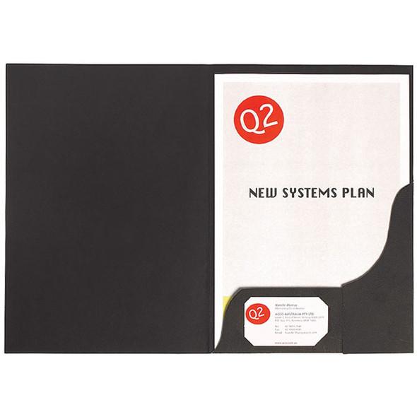 Marbig Professional Presentation Folders A4 Leathergrain Black  Pack 10