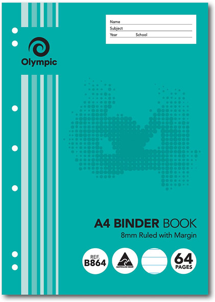 Binder Book Olympic A4 8mm Ruled 64 Page (B864)