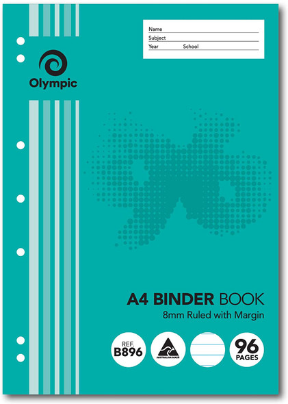 Binder Book Olympic A4 8mm Ruled 96 Page  (B896)