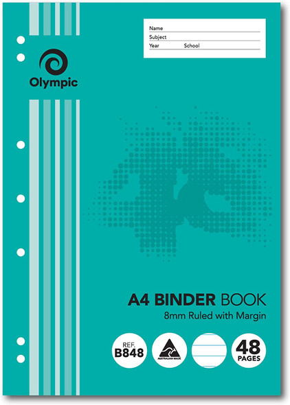Binder Book Olympic A4 8mm Ruled 48 Page (B848)