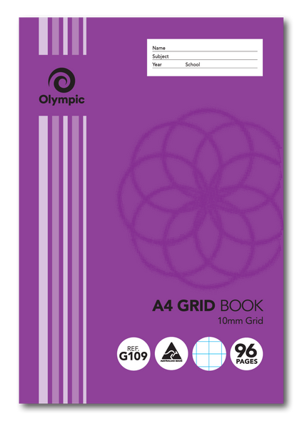 Grid Binder Book Olympic A4 96 Page 10mm Grid