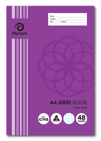 Grid Binder Book Olympic A4 48 Page 7mm Grid