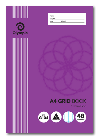 Grid Binder Book Olympic A4 48 Page 10mm Grid
