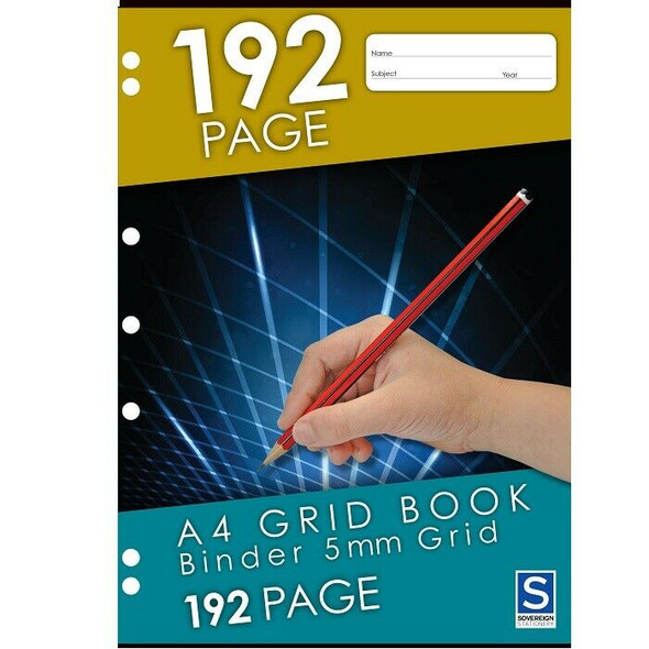 Grid Binder Book Sovereign A4 192 Page 5mm Grid