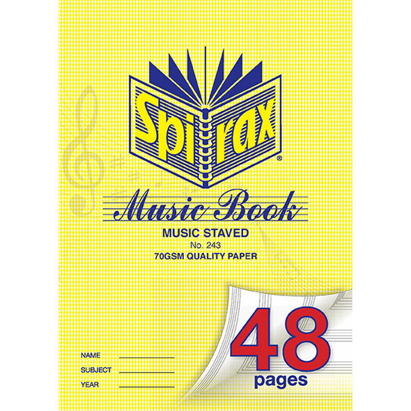 Spirax 243 Music Book A4 48 Page