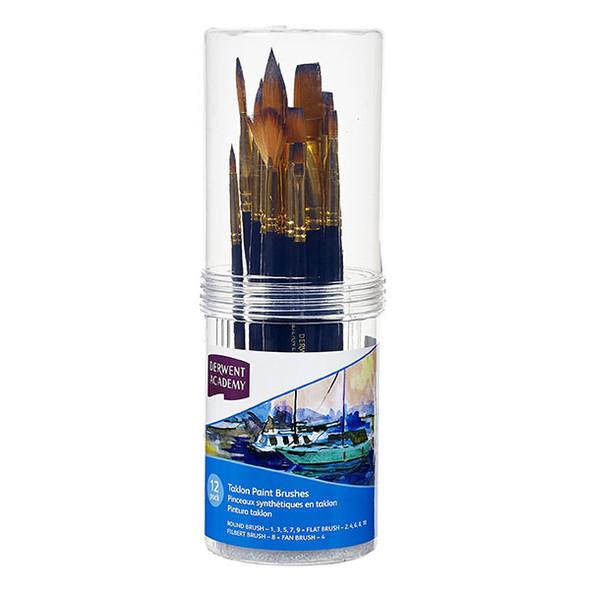 Derwent Academy Taklon Paint Brush Cylinder Set Large 12 Pack
