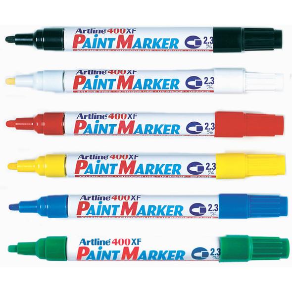Artline 400 Permanent Paint Marker 2.3mm Bullet Tip Assorted