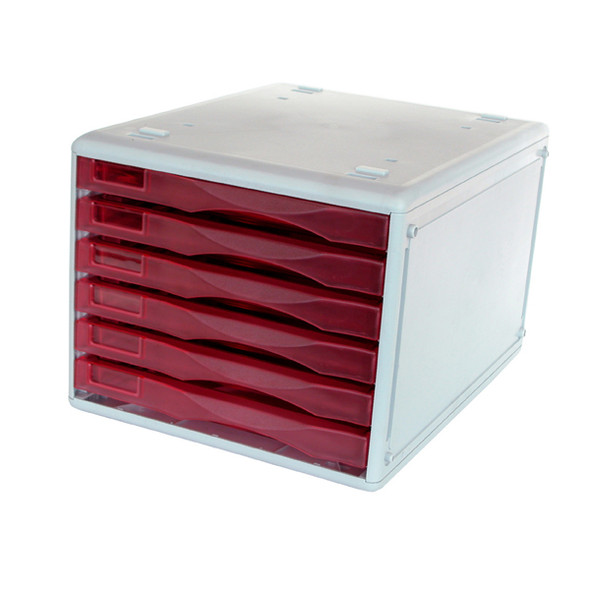 Metro 3439 Desktop Filing Drawer B4 6 Drawer Strawberry