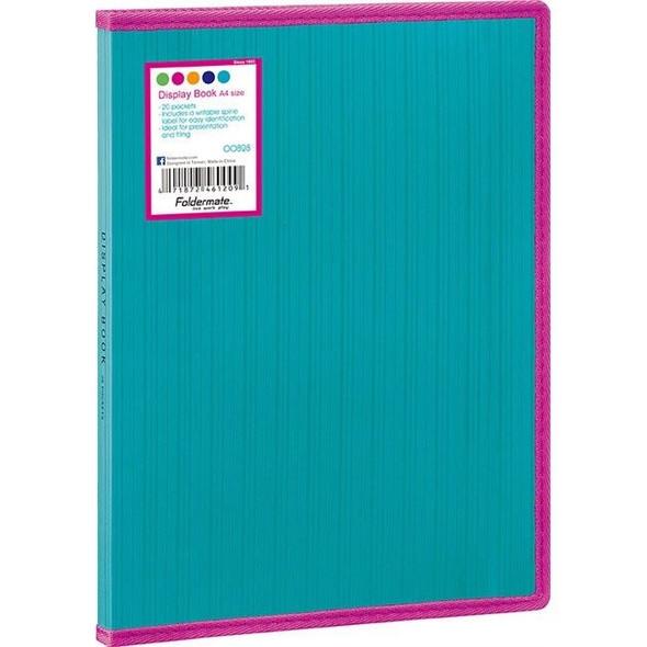 Foldermate Display Book Fixed Barkode+ PP A4 20 Pockets Aqua