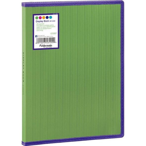 Foldermate Display Book Fixed Barkode+ PP A4 20 Pockets Green