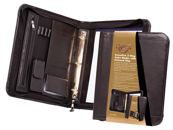 Waterville Zippered Binder with Flap Brown