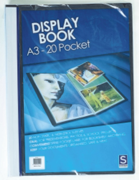Display Book A3 Insert Cover 20 Pocket Balck