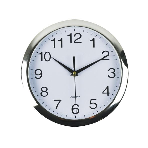 Italplast I390 Clock 26cm Round With Chrome Trim