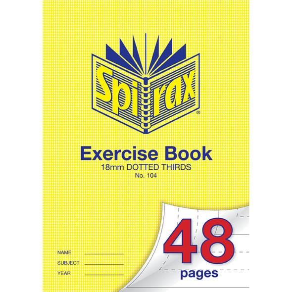 Spirax 104 Exercise Book 48 Page A4 18mm Dotted Thirds