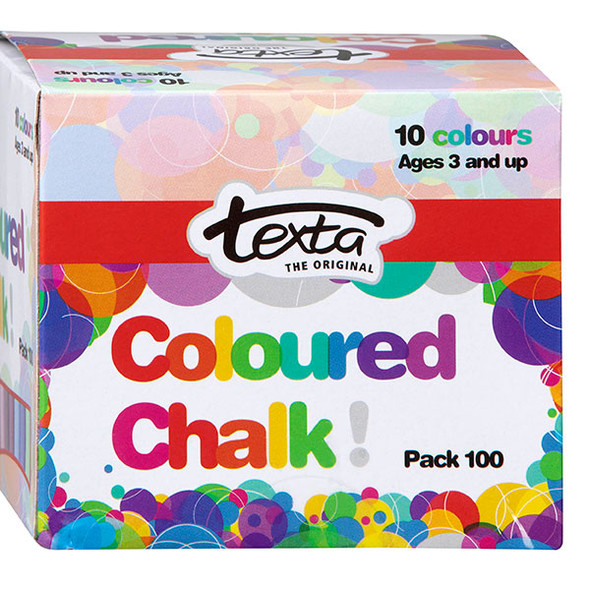 Coloured chalk in packs of 100. Order online www/novaschoolsupplies.com.au