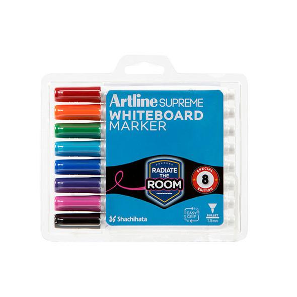 Artline Supreme Whiteboard Marker Assorted Pack 8