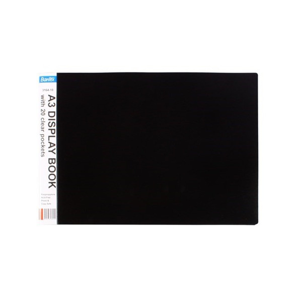 Bantex A3 20 Pocket P/P Oblong Display Book - Black