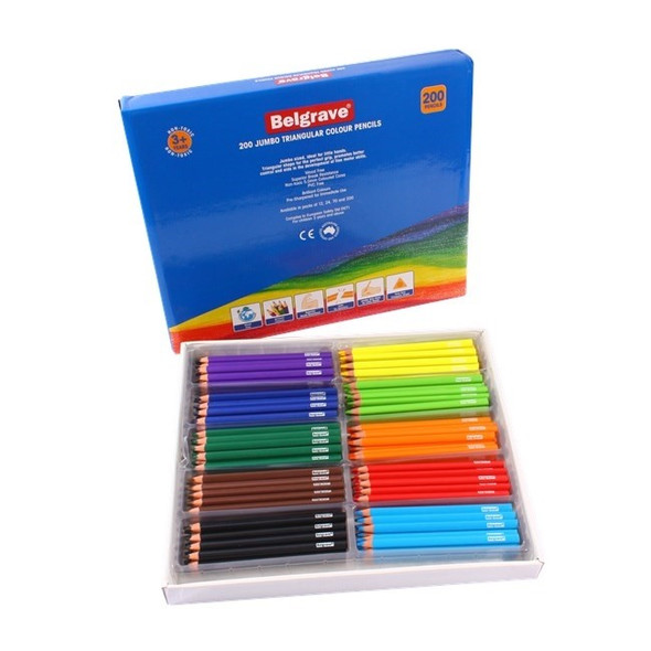 Belgrave Coloured Pencils Triangular Jumbo Wood Free Box 200 - Assorted