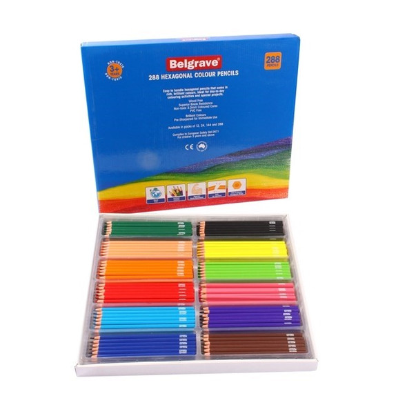 Belgrave Coloured Pencils Hexagonal Standard Wood Free Box 288 - Assorted