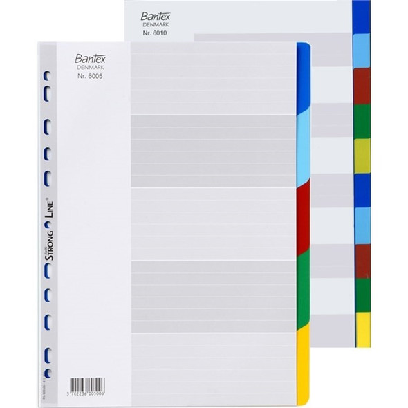 Bantex Dividers Strong Line PP A4 10 Tabs Assorted