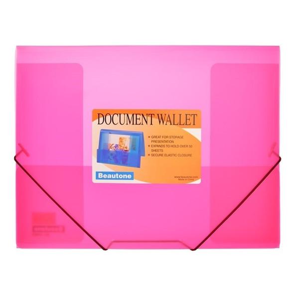 Beautone Document Wallet A4 Cool Frost Transparent Elastic Closure