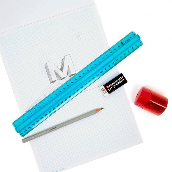 Micador Review Ruler 30cm Blue