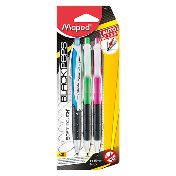 Maped Black Peps Auto Mechanical Pencil 0.5mm Pack 3