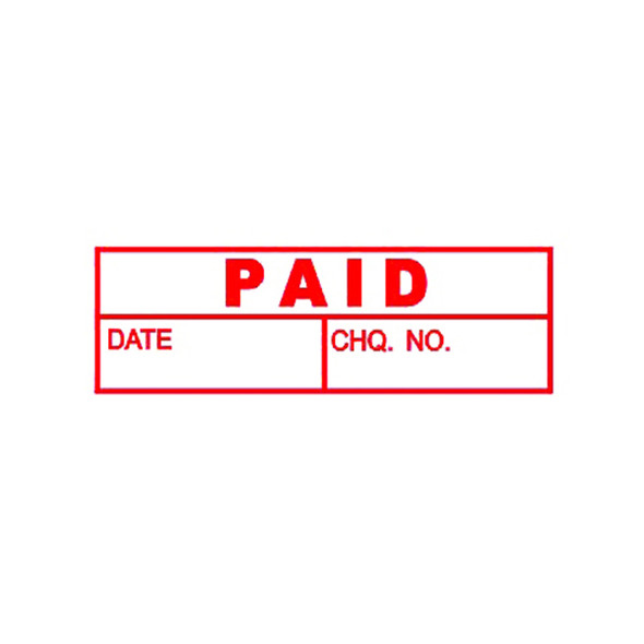 Deskmate Pre-Inked Office Stamp Paid (Date &  Cheque) Red