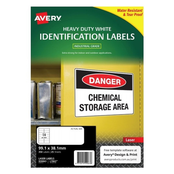 Avery 14UP White Heavy Duty Labels 99.1 x 38.1 mm Laser Extra Strong Permanent