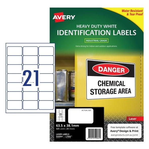 Avery 21UP White Heavy Duty Labels 63.5 x 38.1 mm Laser  Extra Strong Permanent