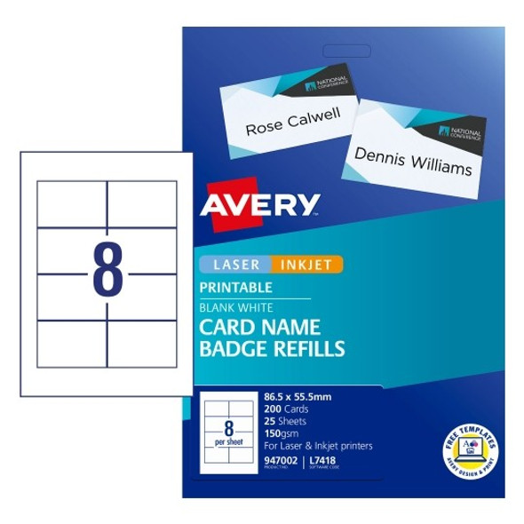 Avery Laser Label L7418 Name Badge Kit Refill 8UP 947002 Pack 25
