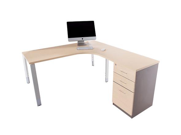Oblique Corner Workstation Soft Maple - 2 Drawer & File Drawer Fixed Pedestal Included