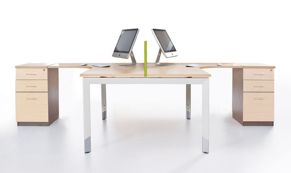 Oblique 2 Person Corner Workstation - 2 Drawer & File Drawer fixed Pedestal Included