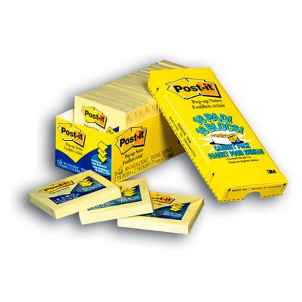 Post-it® Pop-up Notes Cabinet Pack Canary Yellow 76x76mm R330-18CP  Pack