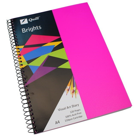 Quill Visual Art Diary PP 110GSM A4 120 Pages - Colours