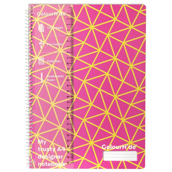 Colourhide Designer Notebook A4 120PG Pink Geo
