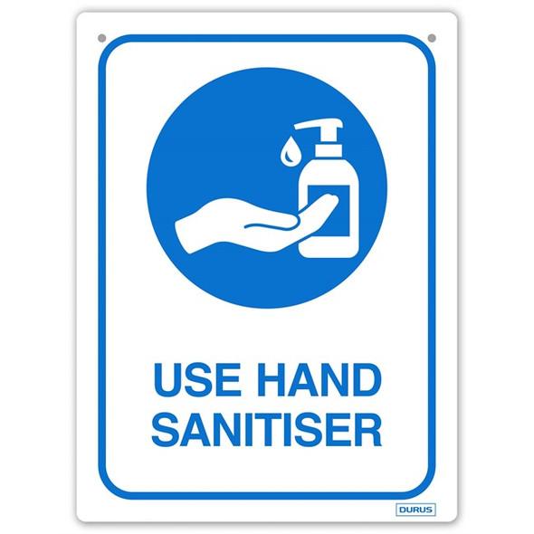 Use Hand Sanitiser Sign Rectangular - Blue & White