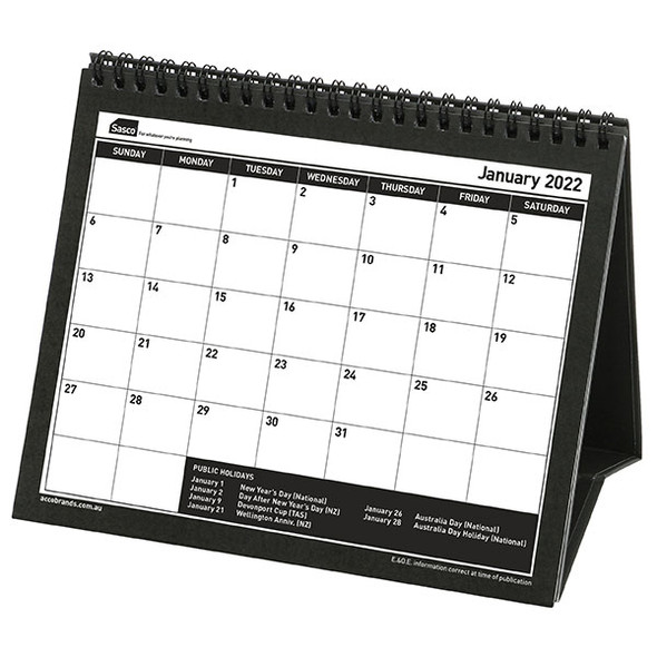 Sasco Desk Calendar Month To View 2022