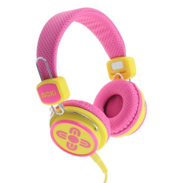 Moki Kid Safe Volume Limited Pink & Yellow Headphones