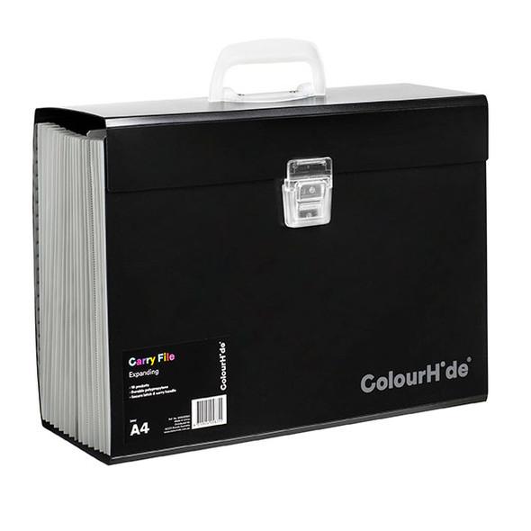 Colourhide Expanding File PP Carry File 19 Pocket Black