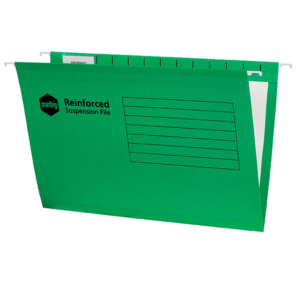 Marbig Reinforced Suspension File Complete Green Box 25