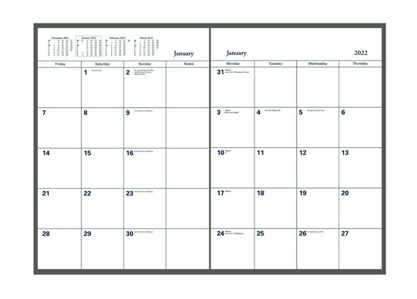 Collins Colplan Planner Diary 2022 A4-Monthly-Geo Red