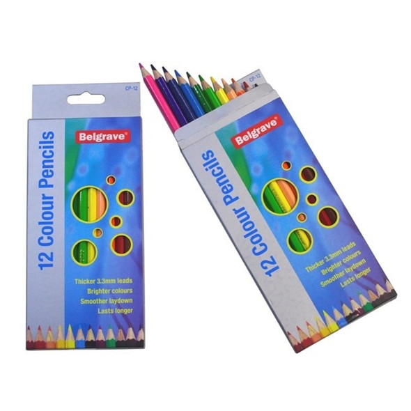 Belgrave Coloured Pencils Hexagonal Standard Wood Pack 12 - Assorted