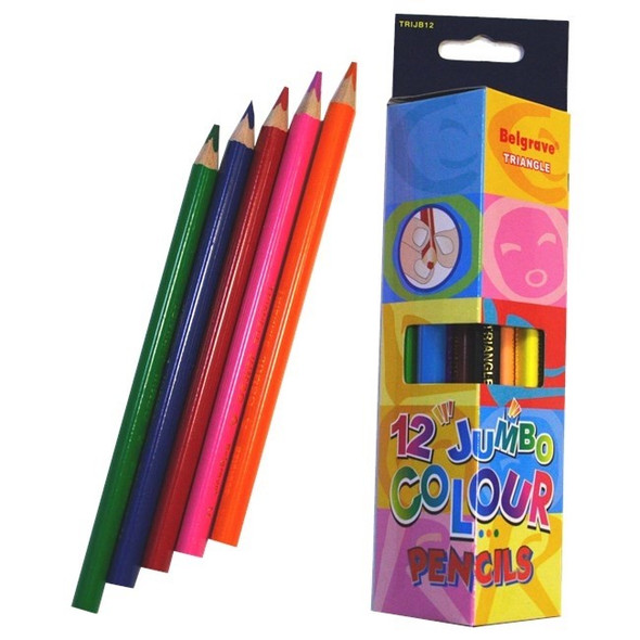 Belgrave Coloured Pencils Triangular Jumbo Wood Pack 12 - Assorted