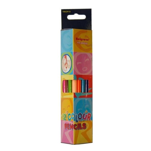 Belgrave Coloured Pencils Triangular Standard Wood Pack 12 - Assorted