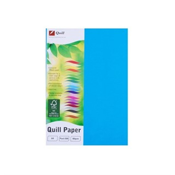 Quill Paper 80GSM A4 Pack 500 - Marine Blue