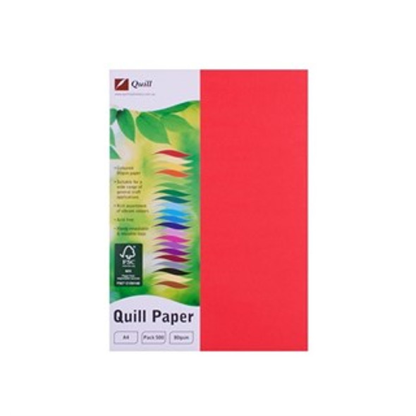 Quill Paper 80GSM A4 Pack 500 - Red